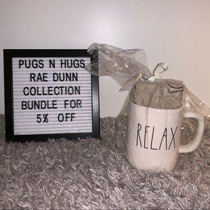 "Rae Dunn ""Relax"" Mug with Tea Towel"